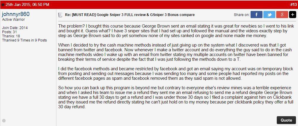 Google Sniper Scam Review
