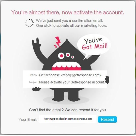 GetResponse confirm your email
