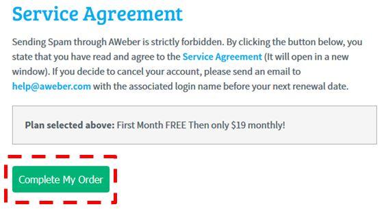 aWeber Service Agreement