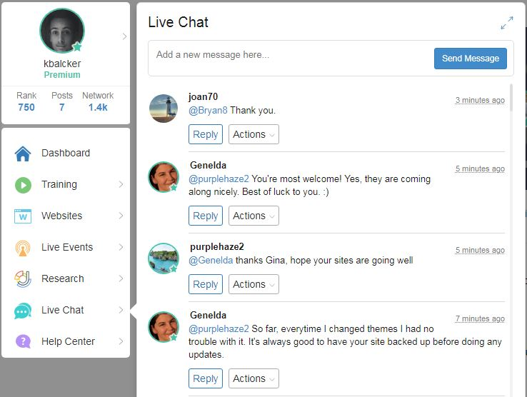 Wealthy Affiliate Live Chats